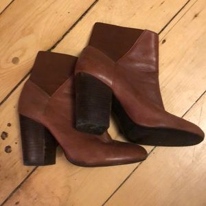 BCBG Brown Leather Booties